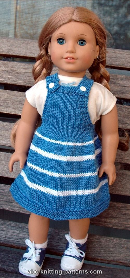 Free Knitting Patterns For Dolls Clothes : ABC Knitting Patterns - American Girl Doll Fair Skies Jumper