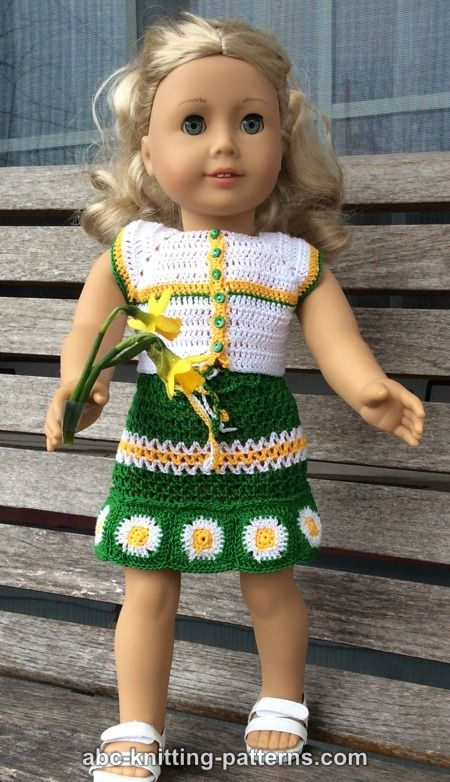 Knitting Pattern For American Girl Doll Skirt : ABC Knitting Patterns - American Girl Doll Fields of Daisies Skirt and Top