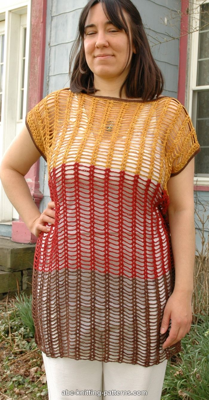 Summer Knitting Patterns : ABC Knitting Patterns - Chain and Shell Summer Top