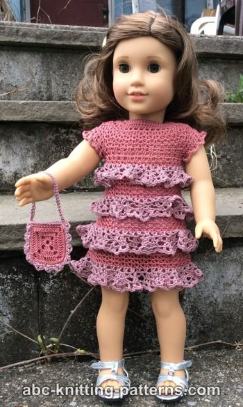 American Girl Doll Evening Dress with Ruffles
