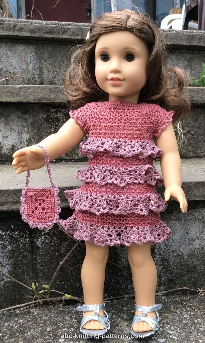 Abc Knitting Patterns For American Doll : ABC Knitting Patterns - American Girl Doll Evening Dress with Ruffles
