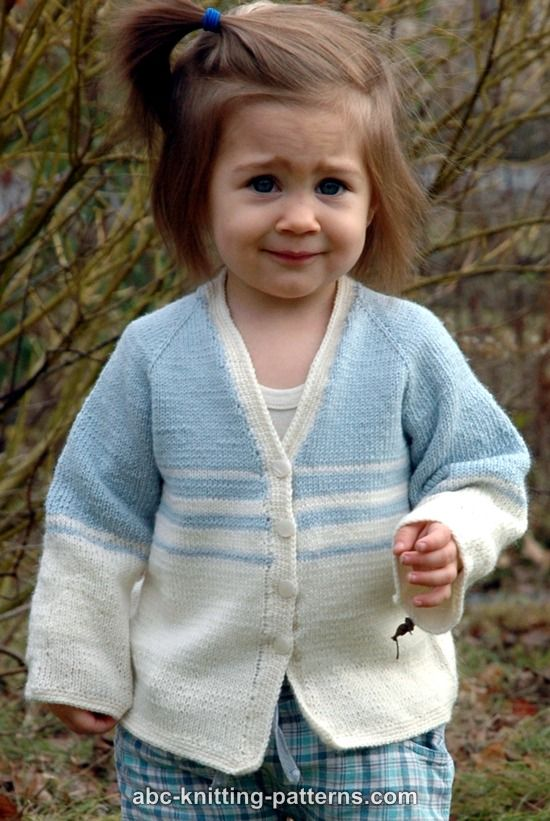 Free Knitting Pattern Child s Raglan Cardigan : ABC Knitting Patterns - Easy Stripes Seamless Child Cardigan