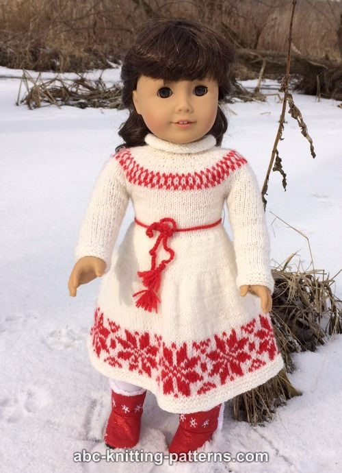 Abc Knitting Patterns American Girl Doll Nordic Winter Dress