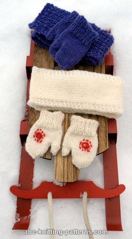 Free Knitting Pattern Doll Mittens : ABC Knitting Patterns - American Girl Doll Winter Fun Mittens and Scarves