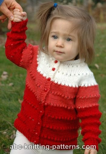 Abc Knitting Patterns Sweetheart Childs Eyelet Cardigan