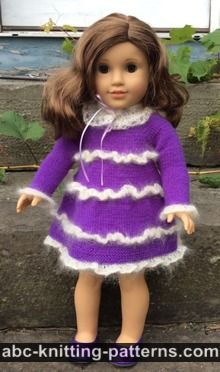 American Girl Doll Mohair Glamour Dress with Ruffles and Detached Lace Collar