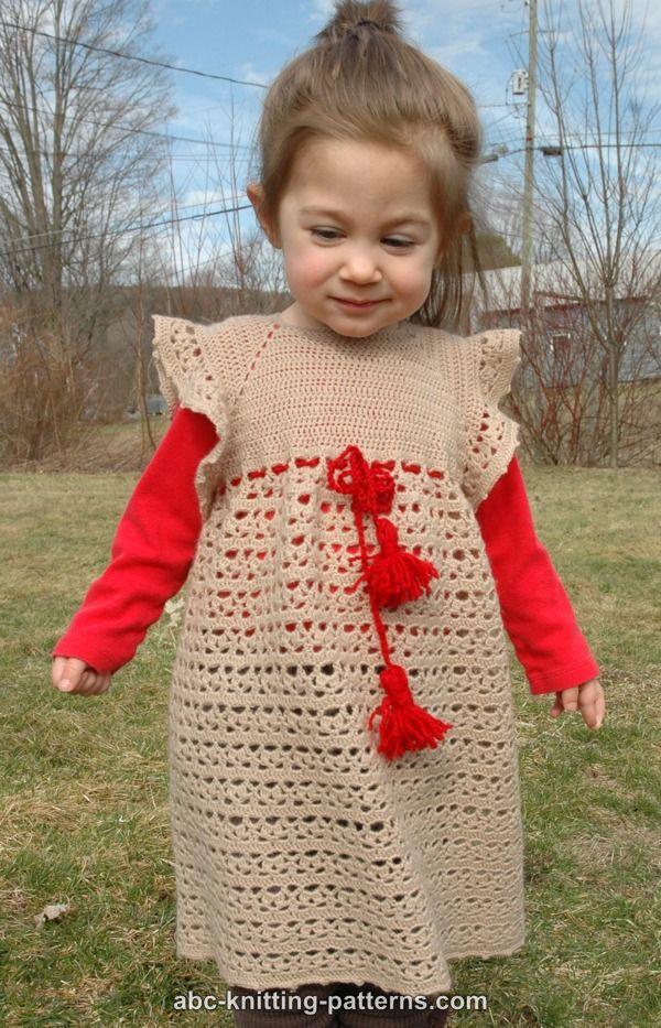 Abc Knitting Patterns Flower Girl Lace Dress