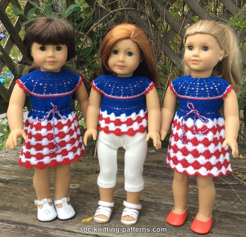 Abc Knitting Patterns American Girl Doll Independence Day Dress