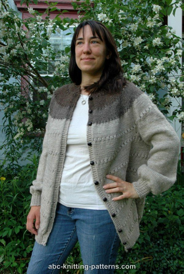 ABC Knitting Patterns - Seamless Round Yoke Fisherman\'s Cardigan