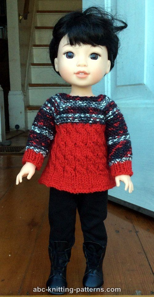 e4d0a7a4eebaeb ABC Knitting Patterns - Cable Tunic for 14 inch dolls (Wellie ...
