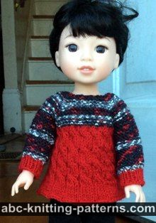 Cable Tunic for 14 inch dolls (Wellie Wishers and Hearts4Hearts)
