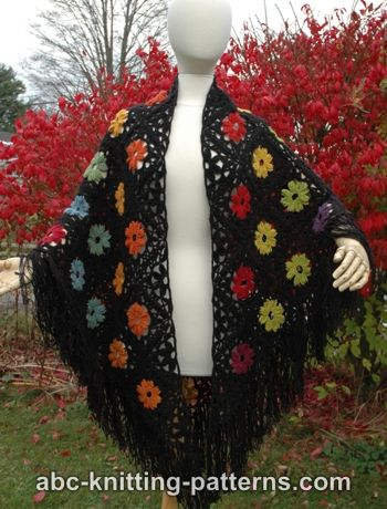 Abc Knitting Patterns Rainbow Flowers Motif Shawl
