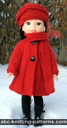 "Broadway Coat with Scarf Collar and Matching Beret (for 14"" dolls)"