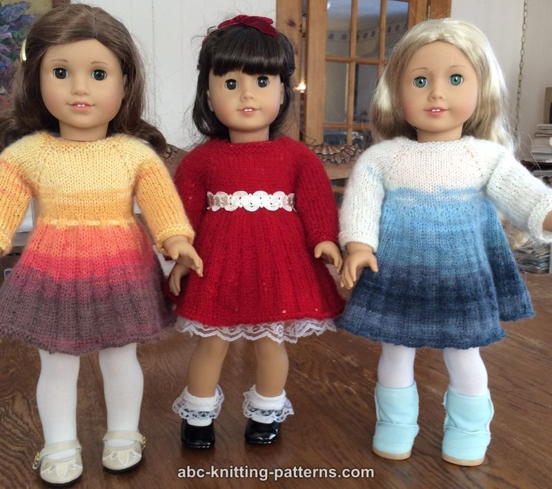 Abc Knitting Patterns American Girl Doll Pleated Skirt Dress