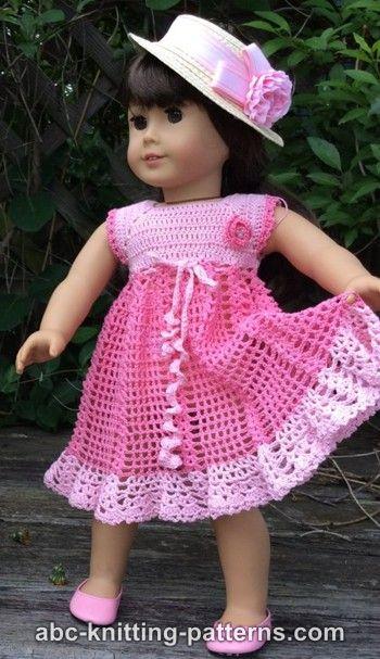 Abc Knitting Patterns American Girl Doll Carnation Lace Dress