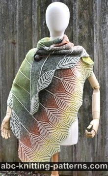 Turning Leaves Brioche Shawl