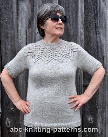 62b9bca86 ABC Knitting Patterns - Starburst Lace Yoke Sweater