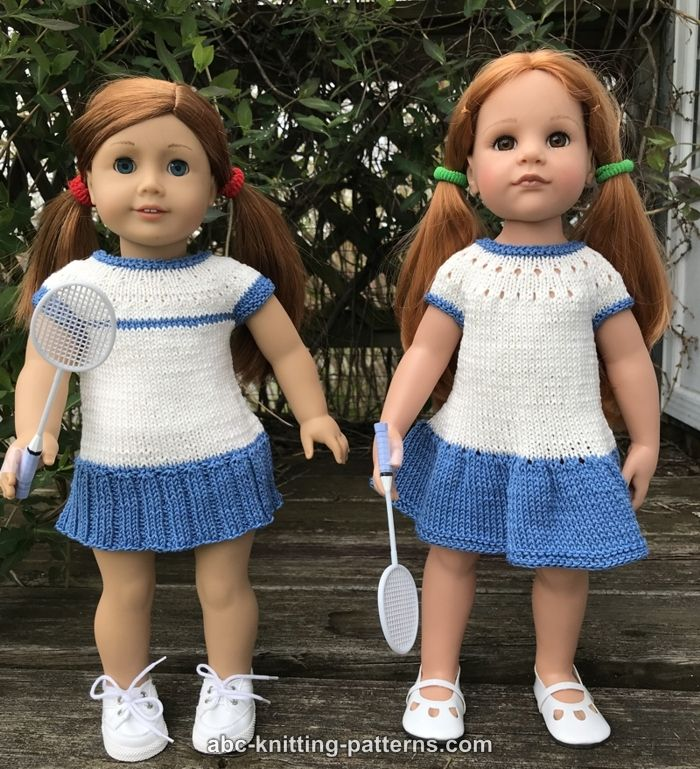 cfbf9ab004a13 ABC Knitting Patterns - Two Tennis Dresses for 18-inch Dolls