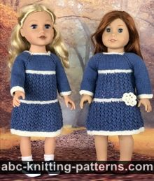 Blue Porcelain Lace Dress for 18-inch Dolls
