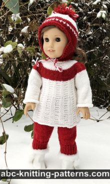 American Girl Doll Red and White Tunic Free Doll Tunic Knitting Pattern