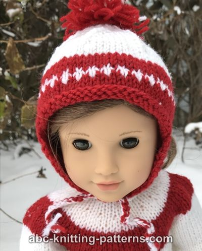 American Girl Doll Red and White Earflap Hat