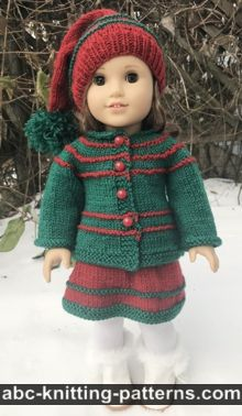 American Girl Doll Jacket for Santa's Helper Outfit Free Doll Jacket Knitting Pattern