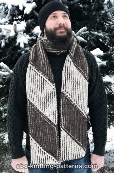 Bias-Striped Brioche Scarf Free Knitting Pattern