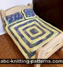 Square Doll Blanket and 3 Pillows