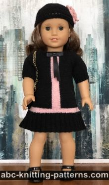 American Girl Doll Vintage Double-Breasted Jacket Free Knitting Pattern