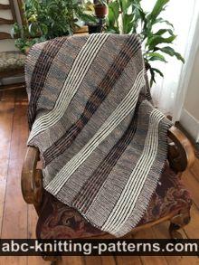 Brioche Stripe Lap Afghan or Blanket Free Knitting Pattern