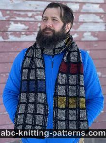 Mondrian Plaid Brioche Scarf Free Scarf Knitting Pattern