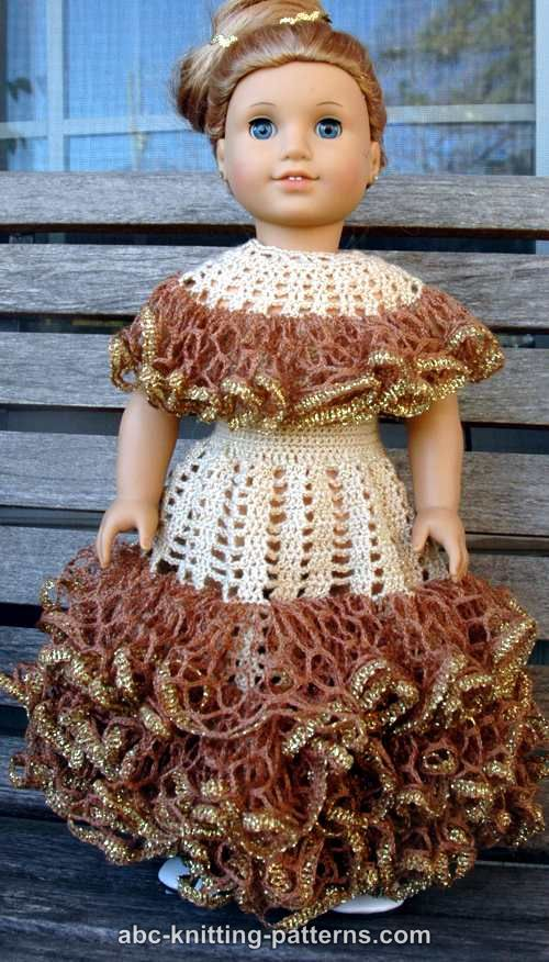 Abc Knitting Patterns American Girl Doll Southern Belle Dress Ii