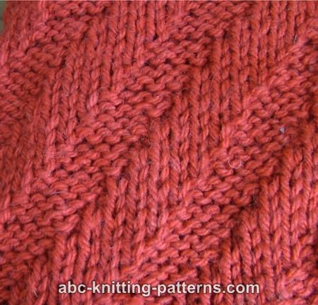 ABC Knitting Patterns - Diagonal Rib Scarf