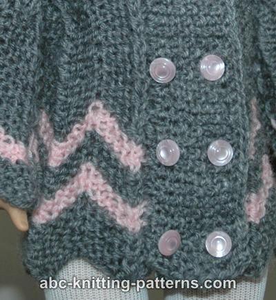 ABC Knitting Patterns - American Girl Doll Chevron Jacket.