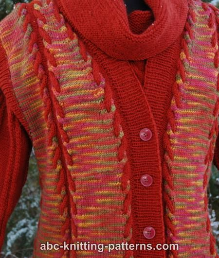 Abc Knitting Patterns : ABC Knitting Patterns - Autumn Cabled Vest from Hand-Dyed Yarn