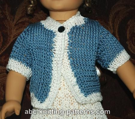 ABC Knitting Patterns - American Girl Doll Elegant Suit (Cardigan and