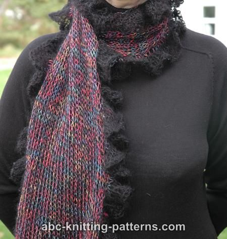 Abc Knitting Patterns Dressing Scarf With Lace Ruffle