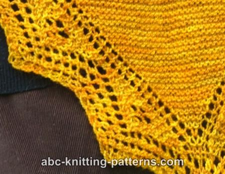 ABC Knitting Patterns - Trellis Border Garter Stitch Lace Shawl