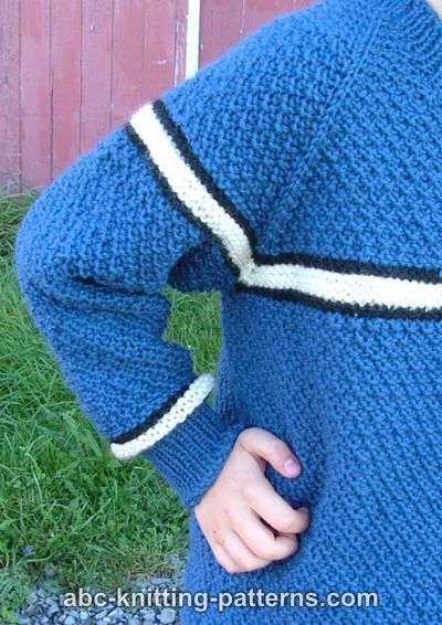 Knitting Patterns For Boys : ABC Knitting Patterns - Boys Top-Down Raglan Sweater with Stripes