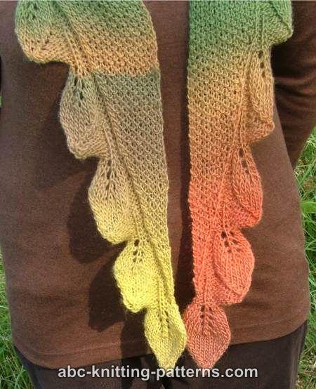 Abc Knitting Patterns Autumn Leaves Small Triangular Shawl Baktus