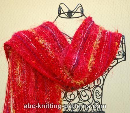 Abc Knitting Patterns Easy Fancy Yarn Scarf