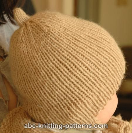 22892478e20 ABC Knitting Patterns - Ribbed Baby Earflap Hat