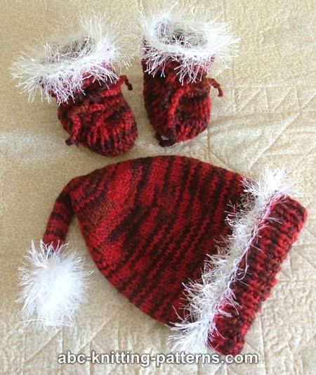 Abc Knitting Patterns Baby Booties : ABC Knitting Patterns - Santa Baby Booties