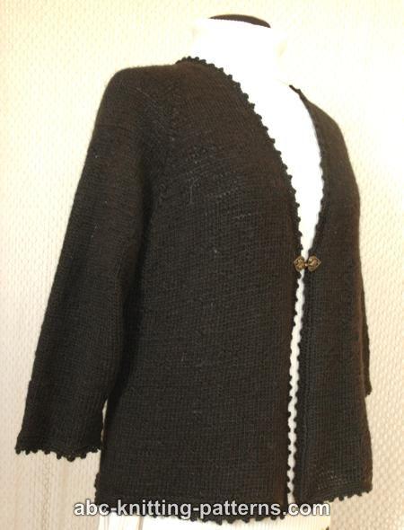 Knitting Pattern Basic Cardigan : ABC Knitting Patterns - Basic Knitted Cardigan with Crochet Finish