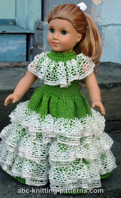 Abc Knitting Patterns For American Doll : ABC Knitting Patterns - American Girl Doll Southern Belle Dress