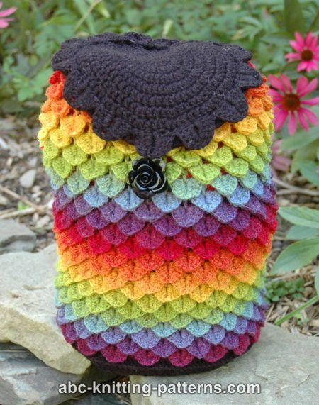 ABC Knitting Patterns - Rainbow Dragon Backpack