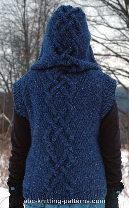 Abc Knitting Patterns Street Chic Hooded Cable Vest