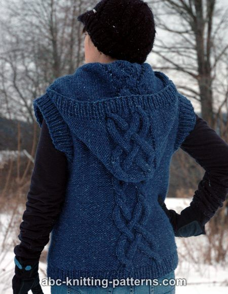 Knitting Pattern Hooded Vest : ABC Knitting Patterns - Street Chic Hooded Cable Vest