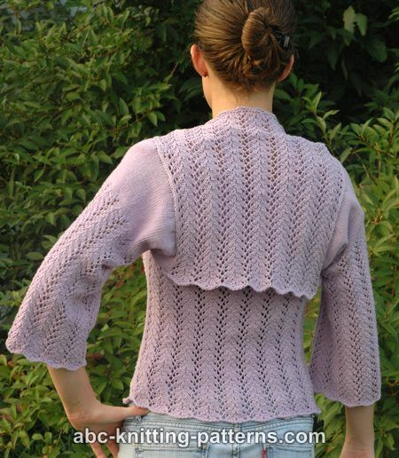 Summer Shrug Knitting Pattern : ABC Knitting Patterns - Vine Lace Summer Shrug