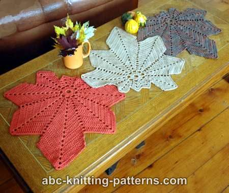 ABC Knitting Patterns - Chestnut Leaf Table Runner and Placemats